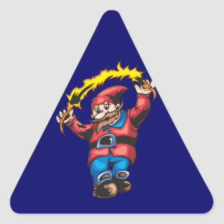 Navidad del duende mágico pegatina triangular
