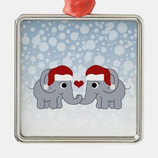 Navidad del elefante adorno cuadrado plateado