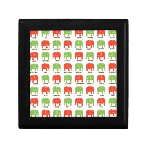 Navidad del elefante cajas de joyas