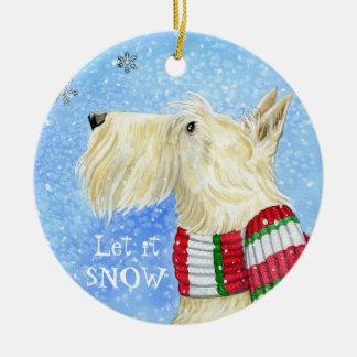 Navidad del escocés mágico adorno navideño redondo de cerámica