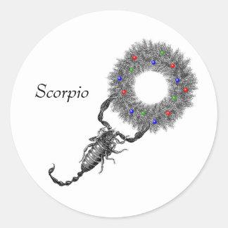 Navidad del escorpión pegatina redonda
