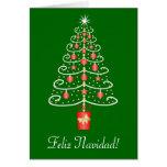 Navidad del español de Feliz Navidad del árbol de  Tarjeton