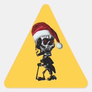 Navidad del esqueleto de Santa del gótico Calcomanías Trianguloes