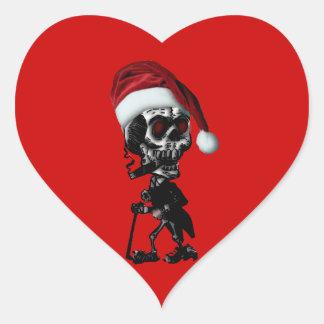 Navidad del esqueleto de Santa del gótico Calcomanías Corazones Personalizadas