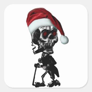 Navidad del esqueleto de Santa del gótico Calcomania Cuadradas Personalizada