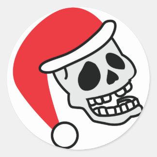 Navidad del esqueleto de Santa Skully Pegatina Redonda