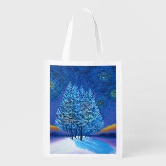 Navidad del estilo de Van Gogh Bolsas Reutilizables