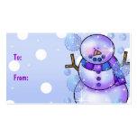 Navidad del Etiqueta-Muñeco de nieve del regalo bu Tarjetas De Visita