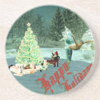 ¡Navidad del Faerie y del gnomo! Posavasos Diseño