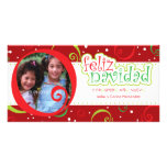 navidad del feliz (alegre) tarjeta fotográfica