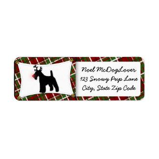 Navidad del fox terrier del alambre etiqueta de remite