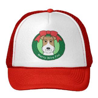 Navidad del fox terrier del alambre gorras de camionero