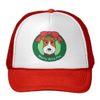 Navidad del fox terrier del alambre gorros bordados