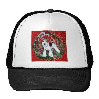 Navidad del fox terrier del alambre gorro de camionero