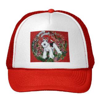 Navidad del fox terrier del alambre gorras