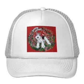 Navidad del fox terrier del alambre gorro