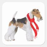 Navidad del fox terrier del alambre colcomania cuadrada