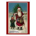 """Navidad del francés del vintage de """"Joyeux Noel"""" Tarjetón"""