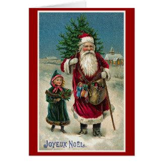 """Navidad del francés del vintage de """"Joyeux Noel"""" Tarjeta De Felicitación"""