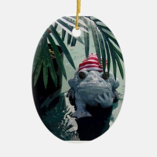 Navidad del Froggy Adorno Navideño Ovalado De Cerámica