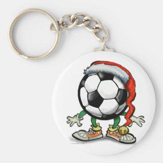 Navidad del fútbol llavero redondo tipo pin