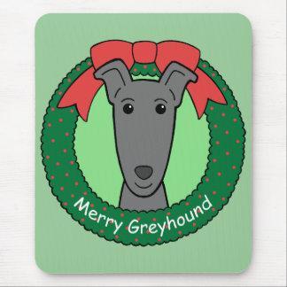 Navidad del galgo alfombrilla de ratón