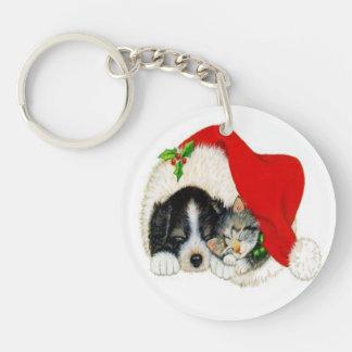Navidad del gatito del perrito del vintage llavero redondo acrílico a una cara