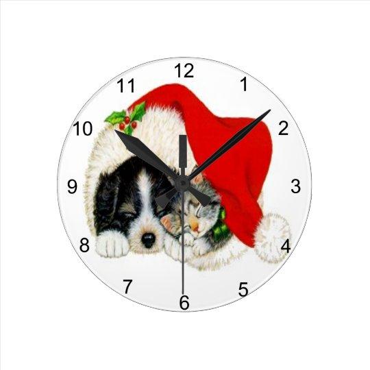 Navidad del gatito del perrito del vintage reloj redondo mediano