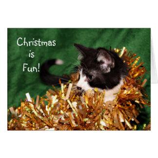 Navidad del gatito del smoking tarjeta de felicitación