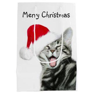Navidad del gatito del Tabby Bolsa De Regalo Mediana