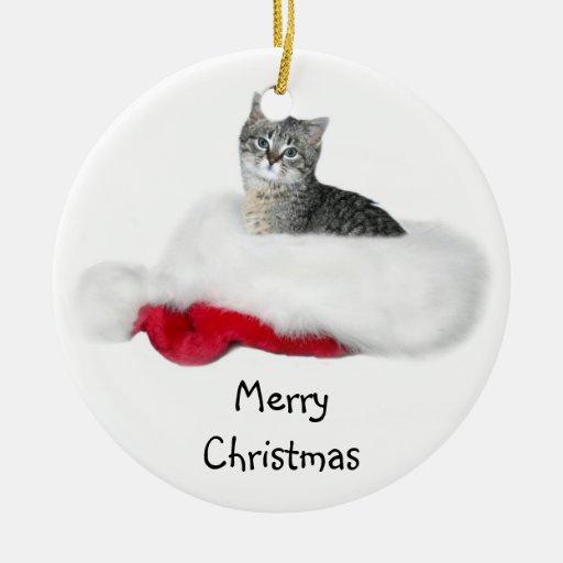 Navidad del gatito del Tabby Ornamentos De Navidad