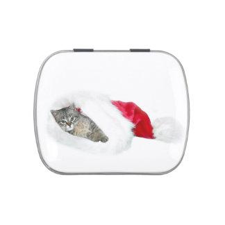 Navidad del gatito del Tabby Frascos De Dulces