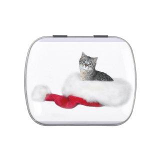 Navidad del gatito del Tabby Latas De Dulces