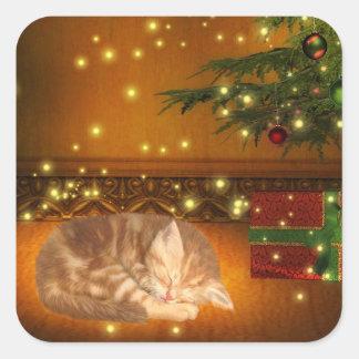 Navidad del gatito del Tabby Pegatina Cuadrada