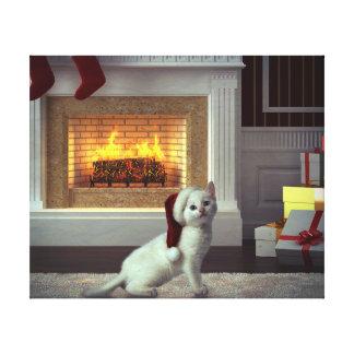 Navidad del gatito lona envuelta para galerías