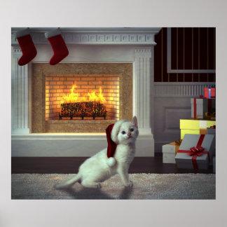 Navidad del gatito póster