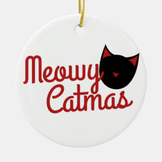 Navidad del gato adorno navideño redondo de cerámica