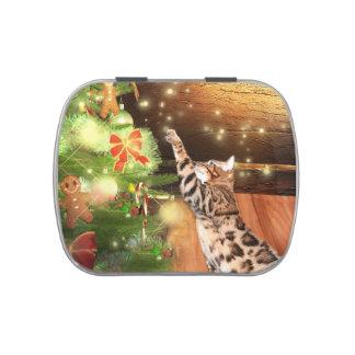 Navidad del gato de Bengala Frascos De Caramelos