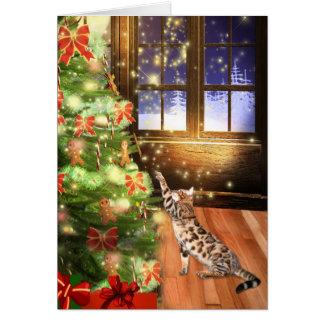 Navidad del gato de Bengala Tarjeta De Felicitación