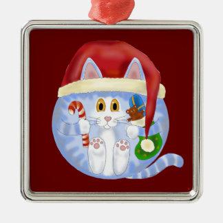 Navidad del gato de la chuchería adorno navideño cuadrado de metal