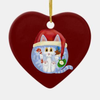 Navidad del gato de la chuchería adorno navideño de cerámica en forma de corazón