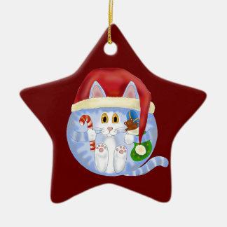 Navidad del gato de la chuchería adorno navideño de cerámica en forma de estrella