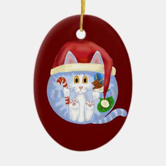 Navidad del gato de la chuchería adorno navideño ovalado de cerámica