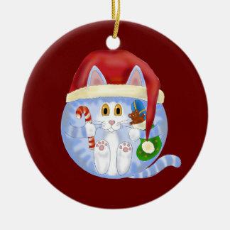 Navidad del gato de la chuchería adorno navideño redondo de cerámica