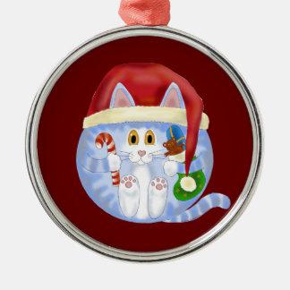 Navidad del gato de la chuchería adorno navideño redondo de metal