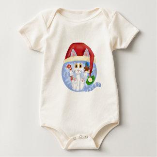 Navidad del gato de la chuchería body para bebé