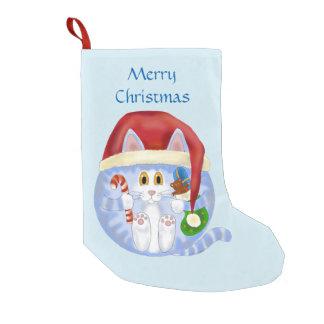 Navidad del gato de la chuchería calcetín de navidad pequeño