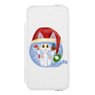 Navidad del gato de la chuchería funda billetera para iPhone 5 watson