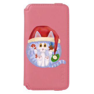 Navidad del gato de la chuchería funda billetera para iPhone 6 watson