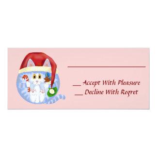 """Navidad del gato de la chuchería invitación 4"""" x 9.25"""""""